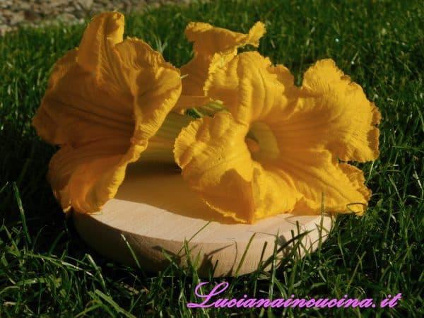 Pulire delicatamente i fiori di zucchina privandoli del pistillo.