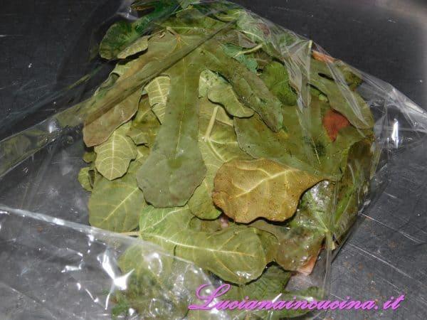 Ricoprire con le altre foglie di fico ed inserire nel sacchetto per la cottura a bassa temperatura.