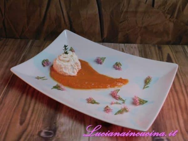 Rocher salati su crema di zucca