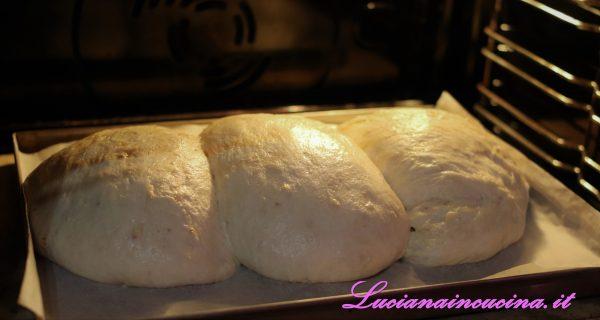 Mettere un contenitore con acqua sulla parte bassa del forno, cuocere il pane a 220°C per 15 minuti in modalità ventilata.
