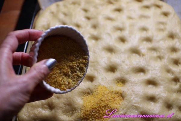 Spolverare l'impasto con la farina di mais bramata.